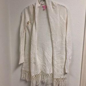 lilly pulitzer white fringe cardigan